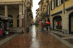 A street in Lugano city, Switzerland royalty free stock image
