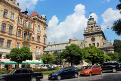 Street in Lviv with parked cars Stock Photo
