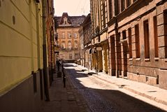 Street in Lviv, Ukraine. East Europe travel cultural town UNESCO heritage tourism destination architecture Stock Photography