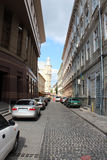 Street in Lvov with parked cars Stock Photography