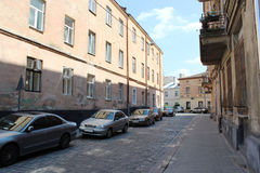Street in Lvov with parked cars Stock Images