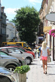 Street in Lvov with parked cars Royalty Free Stock Image