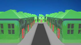 Street made of plastic green houses. 3d generated image of one street made of three blocks full of green plastic houses with a little red door each one royalty free illustration