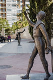 Street in Madrid with monuments. Street in Madrid next Bullfighting arena with monument , Spain , Europe stock photos