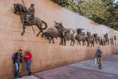 Street in Madrid with monuments. Street in Madrid next Bullfighting arena with monument , Spain , Europe stock photo