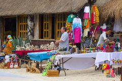 Street in Malahual -Costa Maya, Mexico, Caribbean Royalty Free Stock Photos