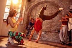 Street artist break dancing performing moves stock photo