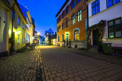 Street in Malmo, Sweden. Stone tiled street in old part of Malmo, Sweden Royalty Free Stock Photo