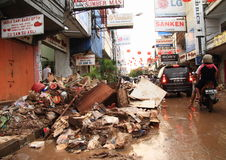 Street of Manado after floods Stock Photos