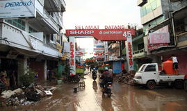 Street of Manado after floods Royalty Free Stock Photo