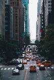 Street of Manhattan in New York. City street scene with traffic. NYC USA stock photo