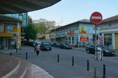Street with many stores in Belgrade Stock Photos