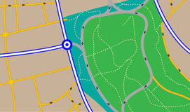 Street map. Illustration of a fictious street map with different type of roads. Plain colors only vector illustration