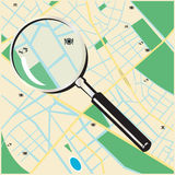Street map. Vector illustration of a street map of an imaginary city with a zoom on it Royalty Free Stock Image
