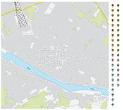 Street map of downtown Florence with pin pointers and infrastructure icons.  royalty free illustration