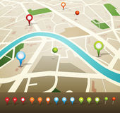 Street Map With GPS Pins Icons Stock Photography