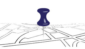 Street map and office pin Stock Images
