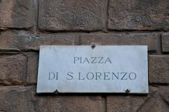 Street map showing piazza san lorenzo in florence Royalty Free Stock Photo