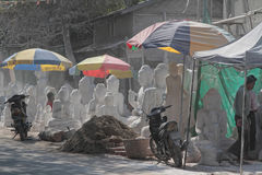 A street of marble statues Royalty Free Stock Images