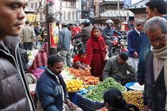 Street market. Street food-store in Kathmandu, center of city - Durbar Square, Thamel, january 2009 Royalty Free Stock Images