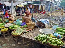 Street Market. Local Khmer street market selling fresh foods Stock Photos
