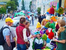 Street market on Andrew's descent. KIEV, UKRAINE - MAY 28, 2016: People at street market on Andrew descent during the Kiev Day. Day of Kiev is a holiday in the Stock Images