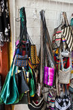 Street market - Bags. Colombia - Street market - Souvenirs - Colorful and various pieces of bags Royalty Free Stock Photos