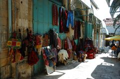 Street market (bazaar) in old Jerusalem,Israel. Street market (bazaar) in old arabic  Jerusalem, Israel Royalty Free Stock Photography