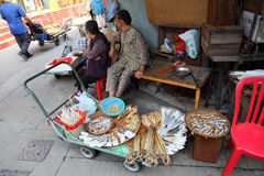 Street market in chinese village Royalty Free Stock Image