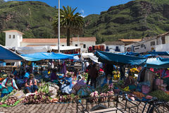 Street market in the city of Pisac, in the Sacred Valley. Stock Photo