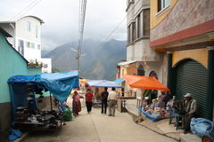 Street Market in Coroico town, Yungas, Bolivia Royalty Free Stock Photography