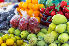 Street market with different exotic fruits. Asia Stock Image