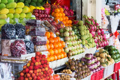 Street market with different exotic fruits Royalty Free Stock Photos
