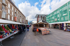 Street market in Eindhoven, Netherlands. Eindhoven, Netherlands - April 12, 2016: street market in the city center with unidentified people. With about 225,000 Royalty Free Stock Image