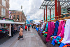 Street market in Eindhoven, Netherlands. Eindhoven, Netherlands - April 12, 2016: street market in the city center with unidentified people. With about 225,000 Royalty Free Stock Photography