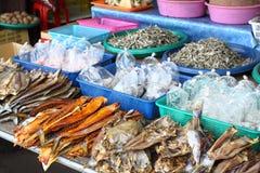 Street market with fish Royalty Free Stock Photo