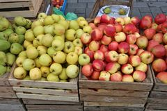 Street market of fresh  red and green garden apples fruits  in w Stock Photo