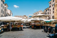 Street market with fruits in Rome. stock images