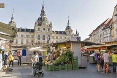 Street market on Hauptplatz square in Graz, Austria Stock Photography