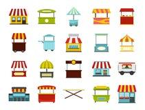 Street market icon set, flat style. Street market icon set. Flat set of street market vector icons for web design isolated on white background stock illustration