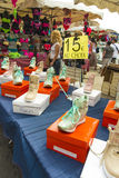Street market La Ciotat Females boots Stock Image