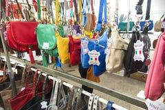 Street market La Ciotat shoulder bags Stock Image