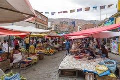 Street market in La Paz, Bolivia royalty free stock photography