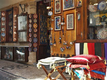 Street market in Lindos. Traditional craft products, Town of Lindos, Rhodes, Greece stock photo