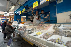 Street market in Livorno, Italy. Fish vendor in a street market in the city of Livorno. Region of Tuscany, Italy Royalty Free Stock Photography
