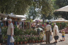 Street market in Lucca, Tuscany, Italy. Stock Image