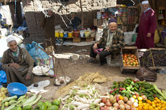 Traders on street market in Morocco royalty free stock photography