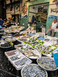 Street market in Naples with fresh sea food Royalty Free Stock Images