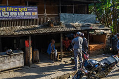 Street Market in Nepal. Nepali citizens buying stuff from markets in the streets Stock Photo