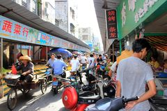 Street market in Old town Haikou town. stock image